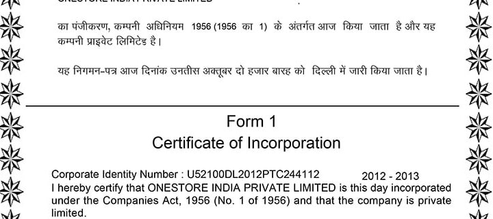 Certification of Incorporation